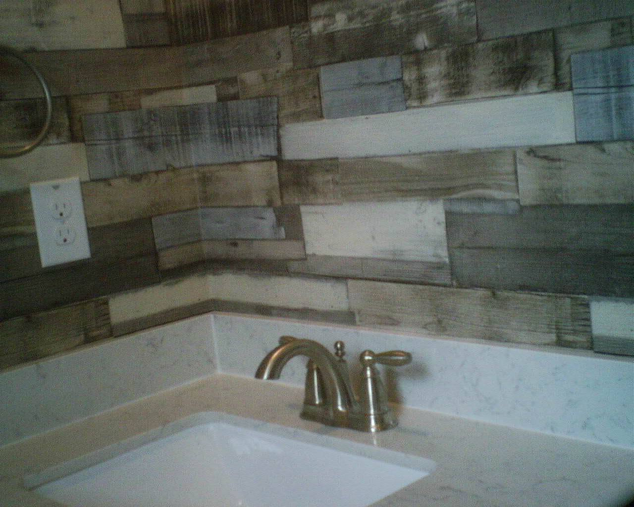 Faux wood plank paneling in a boys bath wallpaperlady 39 s - Faux wood plank wallpaper ...