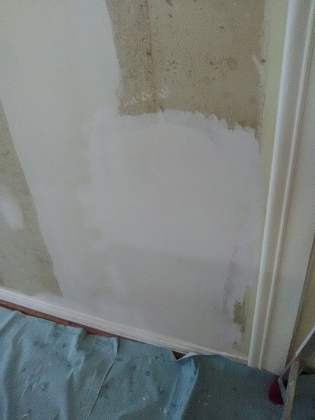 Wallpaper - Torn Drywall Repaired