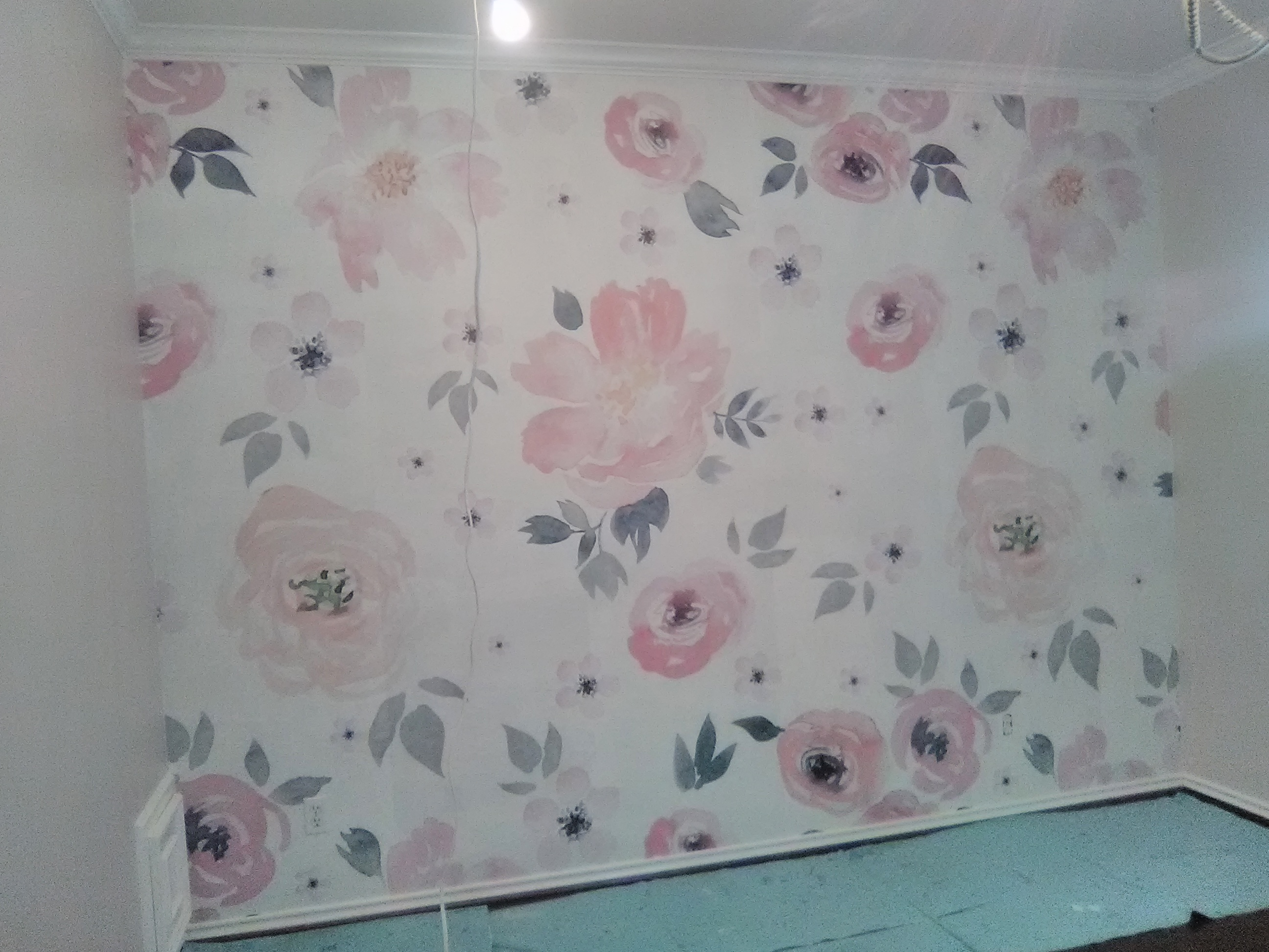 Large And Sweet And Pink Floral Mural For A Baby Girl S Nursery